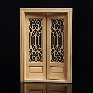 1:12 Dollhouse Miniature Wood Double Door Can Be Painted ss.US S9W6. $11.25