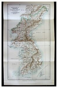 1886 Carles EARLY UNKNOWN KOREA Pre Dates Book COLOR MAP 5 $129.00