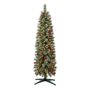 Home Heritage 5ft Stanley Cashmere Tree w Clear Lights Pinecone and Red Berry