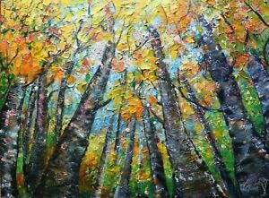 Changing Colors Looking Up Gorgeous FALL Birch Trees Original Painting Large Art $850.00