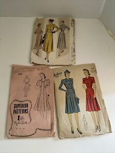 Lot of 3 1940s 50s Vintage Sewing Patterns Superior McCalls DuBarry $35.00