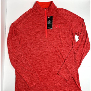 Under Armour Mens Size Medium 1 4 Zip Pullover Orange Red Fall Long Sleeve $26.99