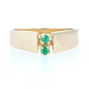 Yellow Gold Emerald Two Stone Ring 14k Round Cut Brushed Cathedral $179.99