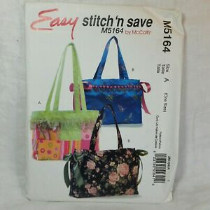 McCall#x27;s PATTERN M5164 TOTES Easy Stitch #x27;n Save Sewing Bags Purses UNCUT 2006 $4.00
