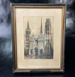 Antique signed Charles Pinet Rouen La Cathedrale etching $64.99
