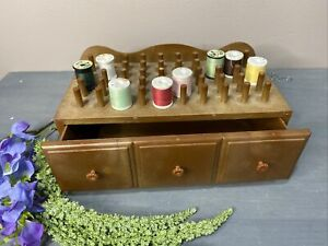 """Vtg Plastic Thread Holder Holds 50 Small Spools Drawer 10x5"""" Footed Organizer $21.88"""