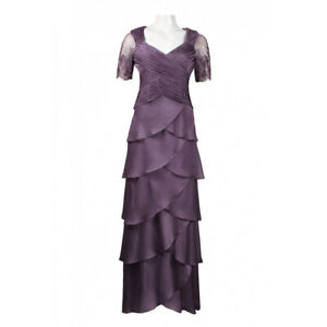 Adrianna Papell Lace Sleeve Criscrossed Tiered Chiffon Dress Violet 4 $41.99