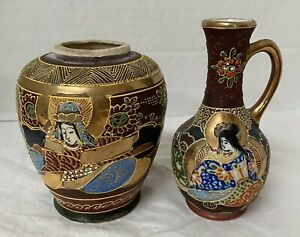 Small Pair Of Satsuma Japanese VasesHand Painted Made in Japan