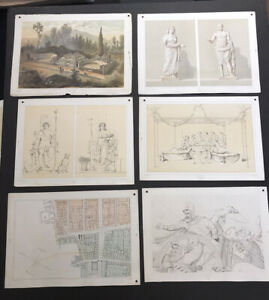 Lot of 38 Antique Lithographs some in color of Ancient Rome mid 19th century $78.00