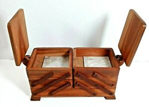Vintage Handmade Wood Accordion Sewing Box Basket 3 Tier Fold Out Storage Chest $39.99