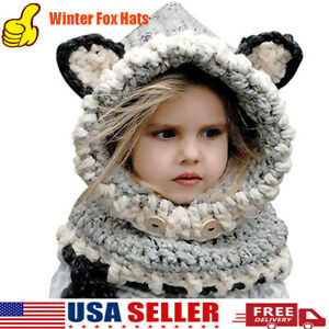 Kids Childrens Winter Fox Hats w Neck Cover Scarf Caps Earflap 2 6 Years USA $12.99