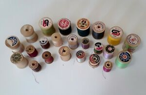 Mixed Lot Of 23 Wooden Sewing Thread Spools Varied Brands amp; Sizes $7.50