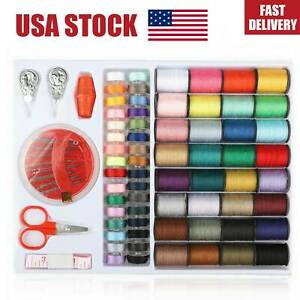 100PCS Set Assorted Colorful Polyester Sewing Thread Spools Bobbin Needle Tapes $9.98