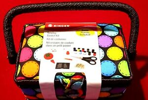 Singer 07272 Polka Dot Small Sewing Basket with Sewing Kit Accessories $7.00