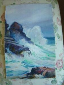 Antique HENRY WEBSTER RICE Watercolor Painting Seascape WAVES CRASHING ON ROCKS $84.95