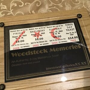 Certified Mint and Unused 3 Day Woodstock Tickets $24 August 15 17 1969 Framed $324.99