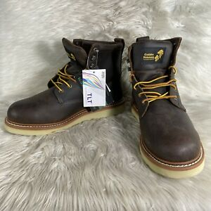 Golden Retriever Men#x27;s Size 13W Safety Work Boots Steel Toe Brown Leather New
