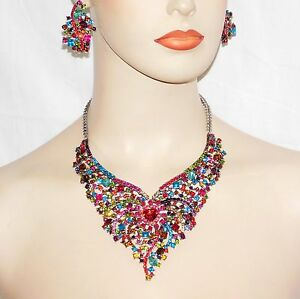 Rhinestone Crystal Necklace & Earring SET Available - Multi color  Gold  Siver