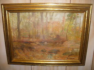 ANTIQUE 1920th LISTED Harry Aiken Vincent AUTUMN OIL PAINTING RECORDS UP $45000