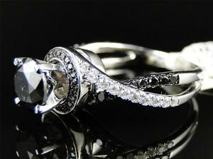 14K Ladies White Gold Black Diamond Solitaire Engagement Ring Set 2.5 Ct
