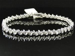 New Ladies Womens White Gold Finish Genuine Diamond Tennis S-Type Bracelet .31 C