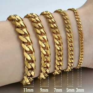 357911mm Gold Stainless Steel Cuban Link Chain Bracelet For Men  8-10 inches