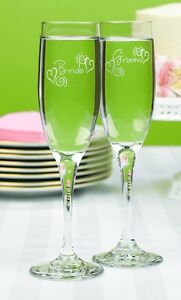 Swirl Heart Bride and Groom Personalized Wedding Toasting Flutes (03133)