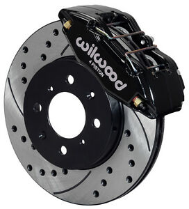 WILWOOD DISC BRAKE KITFRONT STOCK REPLACEMENTHONDADRILLED ROTORSBLACK CAL.