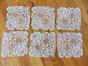 HERITAGE LACE WHITE WITH FLOWERS SET OF 6 COASTERS 6X6 ITEM 4142