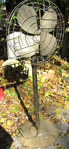 ANTIQUE INDUSTRIAL CAST IRON STEAMPUNK FLOOR BULLET CAGE PROP BLADE MOTOR FAN US