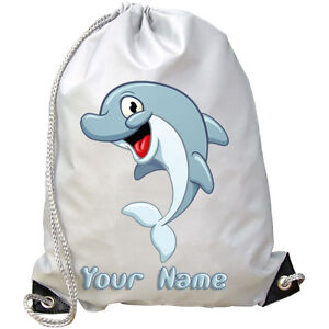 CARTOON CUTE DOLPHIN PERSONALISED GYM  SWIMMING  DANCE BAG  *KIDS NAMED GIFT*