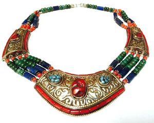 Nepal Silver Choker Necklace Turquoise & Coral Nuggets Lapis w Etched Pendants