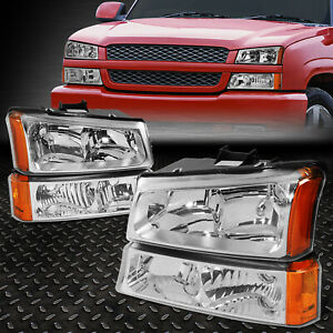 FOR 2003-2006 CHEVY SILVERADO CHROME HOUSING AMBER SIDE HEADLIGHTLAMP SET 4PCS