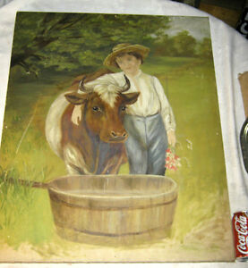 ANTIQUE LG COUNTRY FARM PRIMITIVE FOLK ART DAIRY COW BOY OIL PAINTING WOOD FRAME