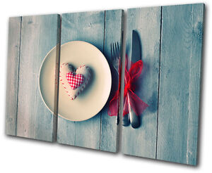 Food Kitchen Love chabby chic TREBLE CANVAS WALL ART Picture Print VA