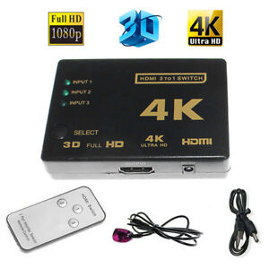 HD 3Port 3x1 HDMI Switcher 4Kx2K 1080P 3D Switch Selector With IR Remote US Fast