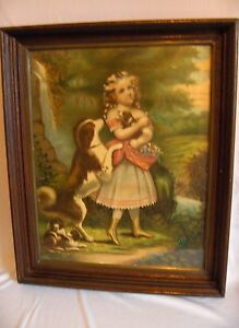 1800's Original Color Lithograph The Pets Girl With Dogs Victorian Framed NICE $145.00