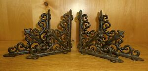 4 BROWN ANTIQUE STYLE 5.5quot; SHELF BRACKETS CAST IRON garden rustic fleur ARROW