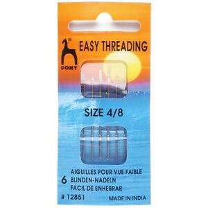 Pony Easy Thread Gold Eye Needles Size 4 8 Pack Craft Sewing Knitting GBP 1.85