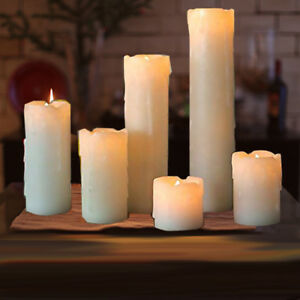 6pc LED Timer Flameless Candles Flickering faux Wax Drip 2 9 Battery included