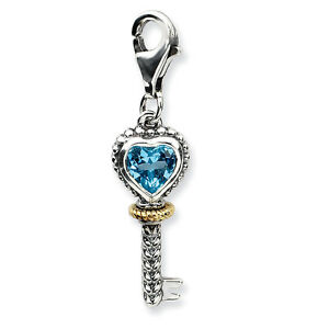 Blue Topaz Key Charm .925 Sterling Silver 14K Gold Accent Clip On Amore La Vita
