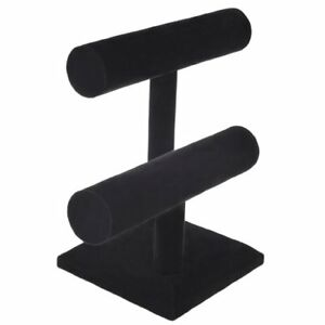 NEW 2 Tier Black Velvet T Bar Bracelet Watch Jewelry Stand Display by NYKKOLA1
