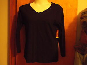 NEW FADED GLORY LADY#x27;S V#x27; NECK COTTON SLUB TEE in a BLACK SOOT COLOR