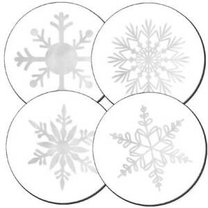 Foil Flakes Silver Foil Christmas Card Seals 24 pk $5.25