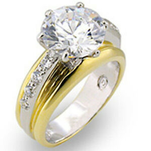10.5 mm 925 Sterling Silver Gold Plated Vermeil Clear CZ Stone Lady Ring Size 8