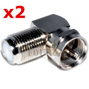 2 Pack Lot - F Type Right Angle 90 Degree MF Coax Cable TV Adapter Connector