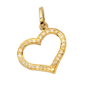 SMALL 14K YELLOW GOLD NATURAL PAVE DIAMOND FLOATING HEART PENDANT CHARM NECKLACE