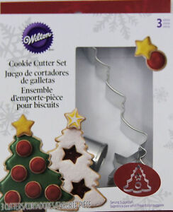 Christmas Tree 3 pc Metal Cookie Cutter Set from Wilton 0573 NEW $4.99