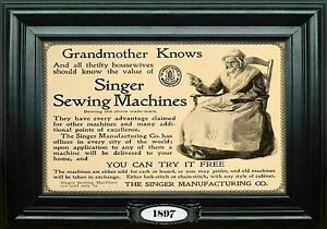 MAGNET SEWING Singer Sewing Machine Advertisement 1897 Grandmother $5.94