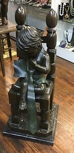 Fabulous Large Bronze Marble Base Boy In Chair With Tie Jim Davidson $1200.00